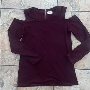 Cold shoulder maroon long sleeve